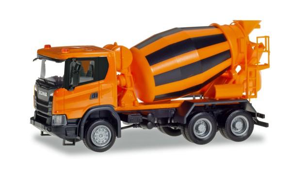 Herpa 309783 - Scania CG 17 6x6 Betonmischer-LKW, kommunalorange - 1:87