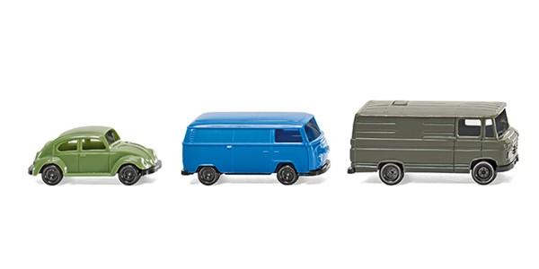 Wiking 090301 - Ein Pkw und zwei Kastenwagen - 1:160