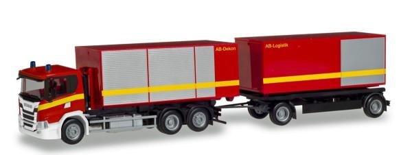"""Herpa 310017 - Scania CG 17 Abrollcontainer-Hängerzug """"Feuerwehr"""" - 1:87"""