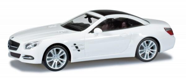herpa 024839 - Mercedes-Benz SL-Klasse Cabrio mit Hardtop, zirrusweiß - 1:87