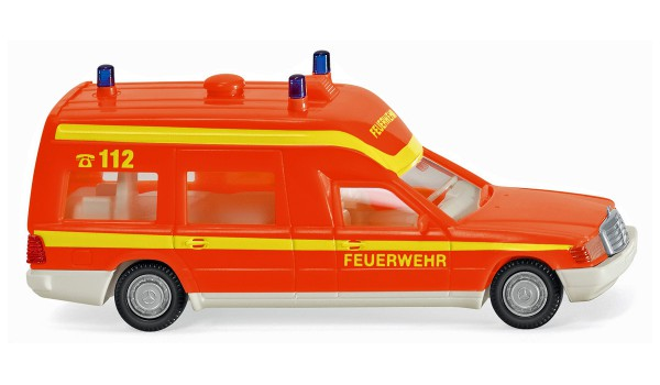 Wiking 060701 - Feuerwehr - Krankenwagen (MB Binz) - tagesleuchtrot - 1:87