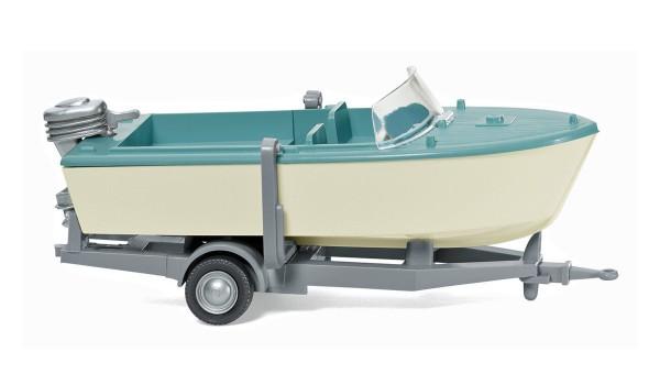 Wiking 009502 - Motorboot auf Anhänger - creme/pastelltürkis - 1:87