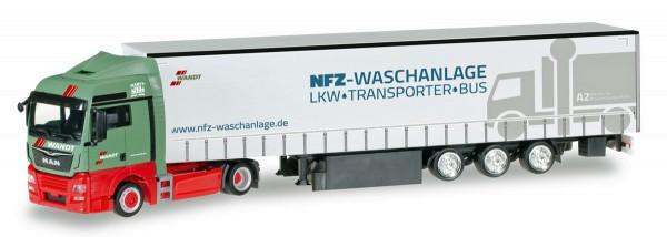 "Herpa 306904 - MAN TGX XLX Euro 6c Gardinenplanen-Sattelzug ""Wandt Waschpark"" - 1:87"