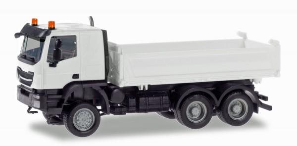 Herpa 013673 - Herpa MiniKit: Iveco Trakker Meiller Kipper, weiß - 1:87