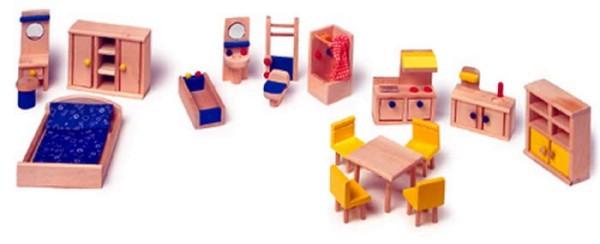 Holz- Puppenhaus Möbel Schlafzimmer, Küche, Bad (7218)