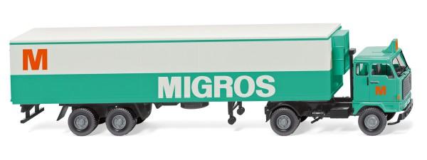 """Wiking 054301 - Kühlkoffersattelzug (Volvo F89) """"Migros"""" - 1:87"""