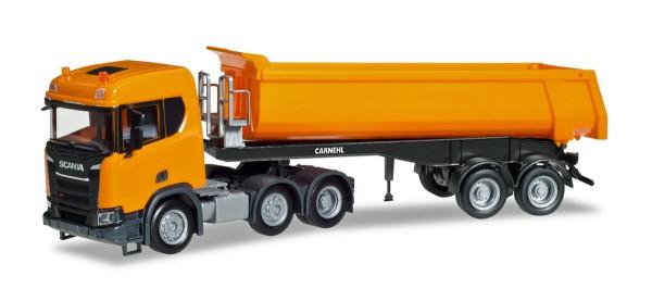 Herpa 309394 - Scania CR ND XT 6x2 Rundmulden-Sattelzug, kommunalorange - 1:87