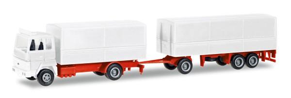 Herpa 013192 - Herpa MiniKit: Ford Transconti Planen-Hängerzug, weiß - 1:87