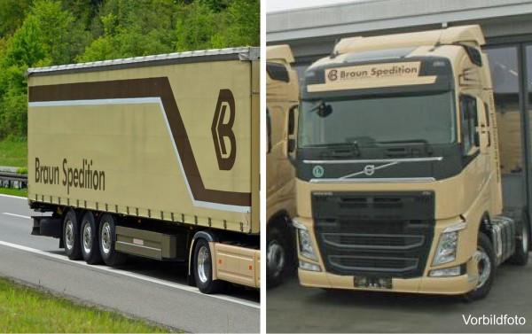 """Herpa 925921 - Volvo FH GL Gardinenplanen-Sattelzug """"Braun Spedition"""" - 1:87"""