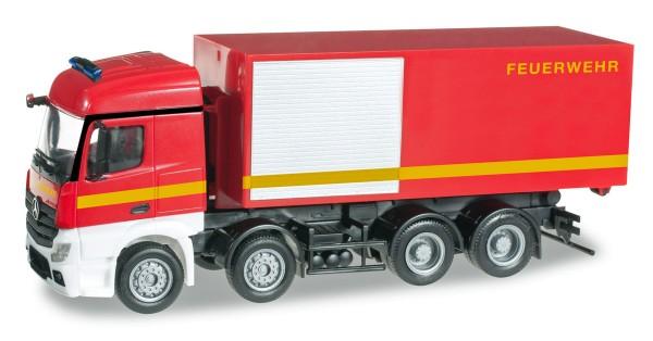 """herpa 091589 - Mercedes-Benz Actros Streamspace 4-achs Abrollcontainer-LKW """"Feuerwehr"""" - 1:87"""