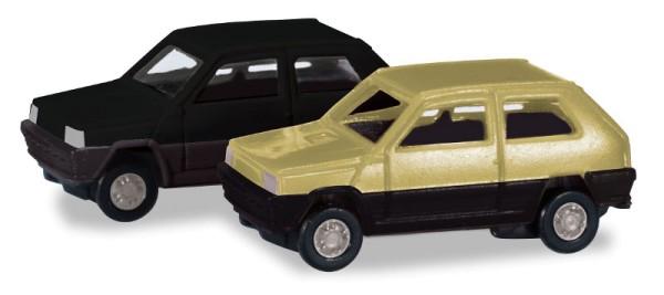 Herpa 065962-002 - Fiat Panda 2er Set, grünbeige und schwarz - 1:160