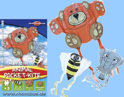 Rhombus - Mini Pocket Kite / Taschen-Drachen - Bär