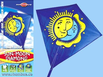 Rhombus Kinderdrachen Sun Moon Diamond - 80 x 80 cm