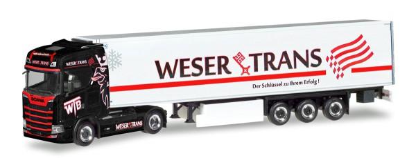 """Herpa 309042 - Scania CS Hochdach Kühlkoffer-Sattelzug """"Weser Trans"""" - 1:87"""
