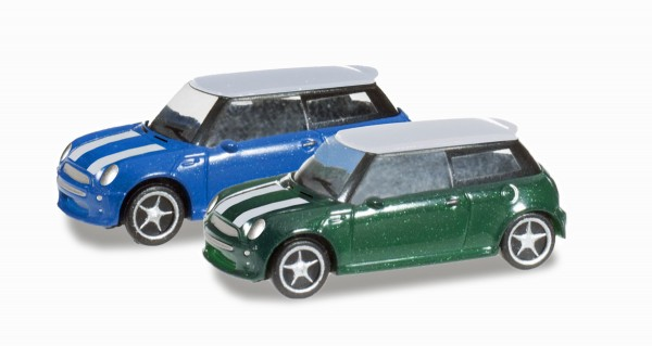 "herpa 065252-003 - N-PKW 2-er Set ""Mini Cooper"", British Racing Green / Lightning Blue - 1:160"