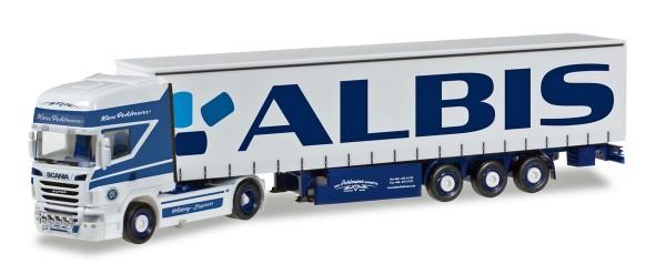 "Herpa 305648 - Scania R TL Gardinenplanen-Sattelzug ""Pohlmann / Albis"" - 1:87"