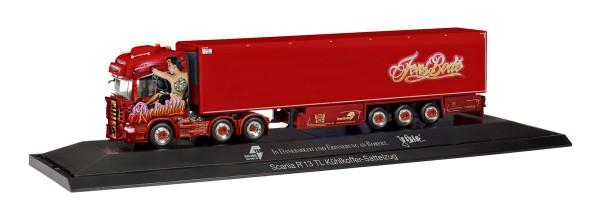 "Herpa 121873 - Scania R TL 6x2 Kühlkoffer-Sattelzug ""TSU Bode / Rockabilly-Truck"" (PC) - 1:87"