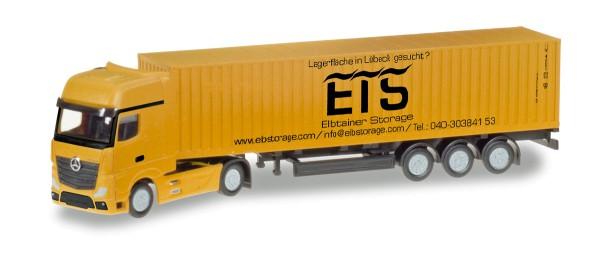 """Herpa 066778 - Mercedes-Benz Actros Gigaspace LH Container-Sattelzug """"Elbtainer Storage"""" - 1:160"""