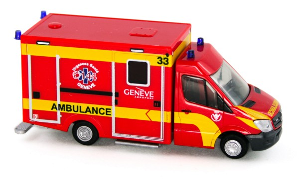 Rietze 76102 - WAS Desgin-RTW Facelift, Ambulance Airport Genève (CH) - 1:87