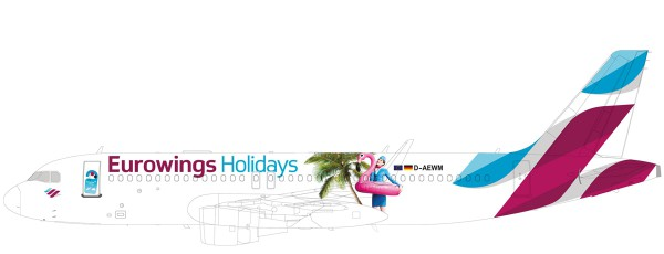 """Herpa Wings 611893 - Eurowings Europe Airbus A320 """"Eurowings Holidays"""" - OE-IQD - 1:200 - Snap-Fit"""