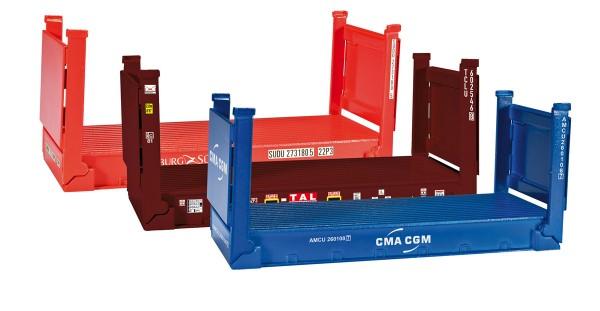 Herpa 076579 - Zubehör 20 ft. Flatcontainer, 3 Stück - 1:87