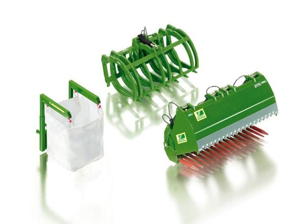Wiking 077382 - Frontlader Werkzeuge Set B John Deere grün - 1:32