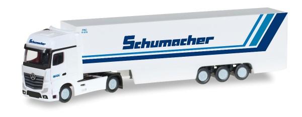 """Herpa 066501 - Mercedes-Benz Actros Gigaspace Koffer-Sattelzug """"Schumacher Spedition"""" - 1:160"""