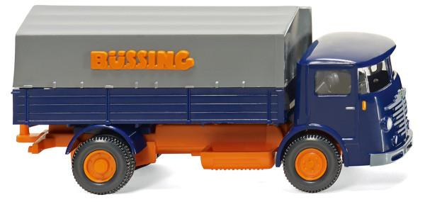 Wiking 047601 - Pritschen-Lkw (Büssing 4500) - blau/orange - 1:87
