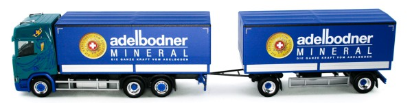 "Herpa 934558 - Scania CR HD Planen-Hängerzug ""Blatter Transporte / Adelbodner"" (CH) - 1:87"