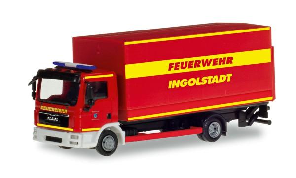 """Herpa 094221 - MAN TGL Planen-LKW mit Ladebordwand """"Feuerwehr Ingolstadt"""" - 1:87"""