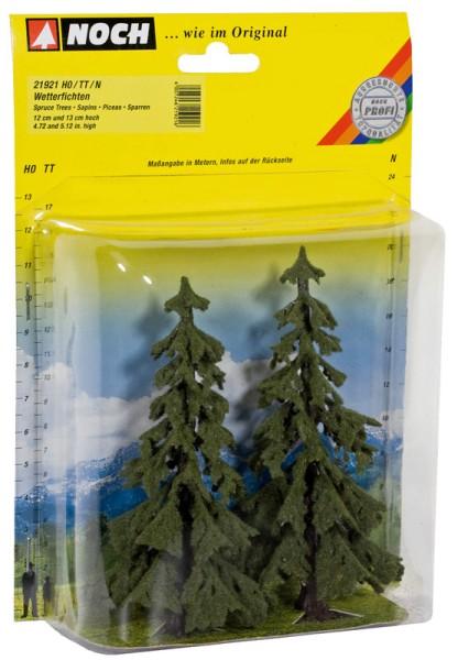 NOCH 21921 - Profi Wetterfichten, 2 Stück, 12 cm und 13 cm hoch - H0 / TT / N
