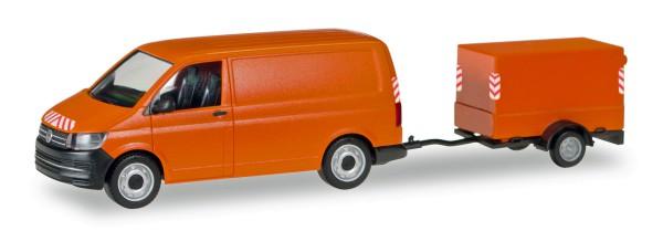 Herpa 093071 - VW T6 Transporter mit Planen-Anhänger - 1:87
