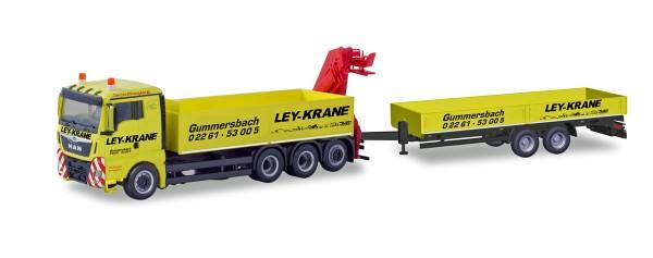 """Herpa 310741 - MAN TGX XL Euro 6c LKW mit Ladekran und Tiefladeanhänger """"Ley Krane Gummersbach"""" - 1:"""