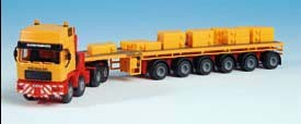 Kibri 13581 - MAN 4achs Schwerlastzugmaschine mit Auflieger - Bausatz - H0