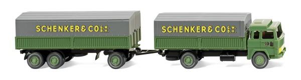 """Wiking 041002 - Stahlpritschenhängerzug (Magirus 235 D) """"Schenker"""" - 1:87"""
