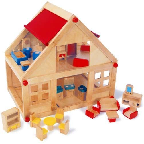 Holz- Puppenhaus Wohnhaus mit Möbeln (7253)