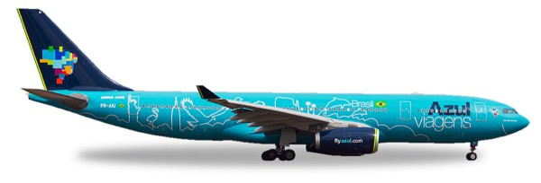 "Herpa Wings 530927 - Azul Airbus A330-200 ""Azul Viagens"" - PR-AIU ""Red, White and Azul"" - 1:500"