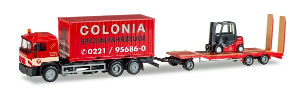 """Herpa 308182 - MAN F 90 Container-LKW mit Goldhofer TU3 und Gabelstapler """"Colonia"""" - 1:87"""