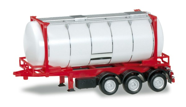 herpa 076678 - 26 ft. Containerchassis mit Swapcontainer, weiß/rot - 1:87