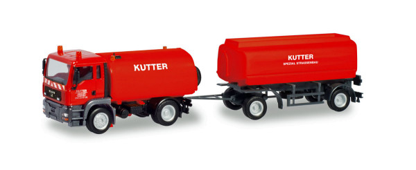 "Herpa 311175 - MAN TGA M Kehrfahrzeug mit Tank-Anhänger ""Kutter"" - 1:87"