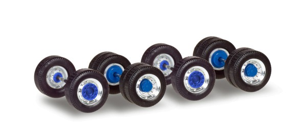 Herpa 053907 - Radsätze für Zugmaschinen mit Breitreifen, chrom/blau Inhalt: 5 Stück - 1:87