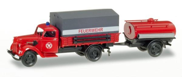 """Herpa 307956 - Ford V 3000 Planen-LKW mit Tankanhänger """"Feuerwehr"""" - 1:87"""
