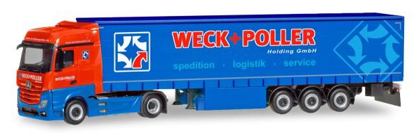 """Herpa 310314 - Mercedes-Benz Actros Bigspace Gardinenplanen-Sattelzug """"Weck + Poller"""" (Sachsen / Zwi"""