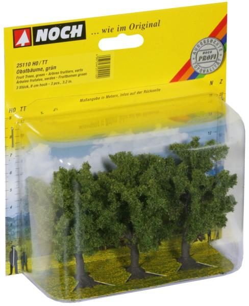 NOCH 25110 - Classic Obstbäume, grün, 3 Stück, 8 cm hoch - H0 / TT