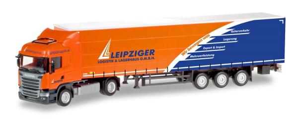 "Herpa 307444 - Scania R Highline Gardinenplanen-Sattelzug ""Leipziger Logistik"" - 1:87"