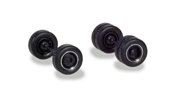 Herpa 054041 - Zubehör Radsätze für Zugmaschinen mit Breitreifen, schwarz mit Chromring (4 Radsätze)