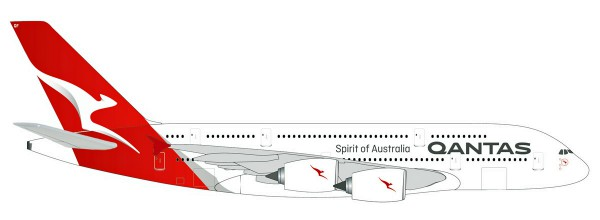 Herpa Wings 531795 - Qantas Airbus A380 - new colors - VH-OQF - 1:500