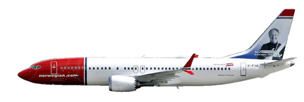 """Herpa Wings 611817 - Norwegian Air Shuttle Boeing 737 MAX 8 - EI-FYA """"Sir Freddie Laker"""" - 1:200 - S"""