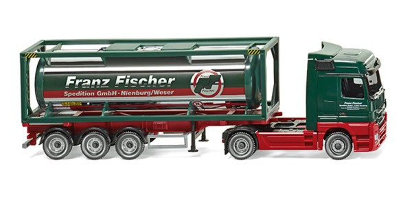 "Wiking 053603 - Tankcontainersattelzug 30' (MB Actros) ""Franz Fischer Spedition"" - 1:87"