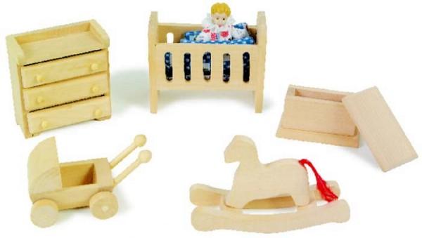 Puppenmöbel Kinderzimmer aus Holz (4625)